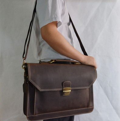 Men's crazy horse leather briefcase Brown double interlayer cow leather business bag Laptop handbag big shoulder bag work tote
