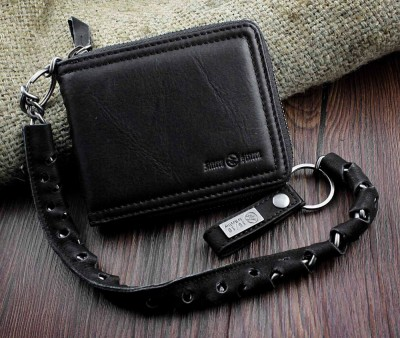 Black Leather Wallet For Man W/ Belt Chain Motorcyle Gothic Rock EMO
