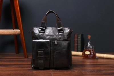 GELINKAI Fashion bag  Retro bags  High quality Leather Messenger Shoulder Handbag Briefcase black  leisurely man bag