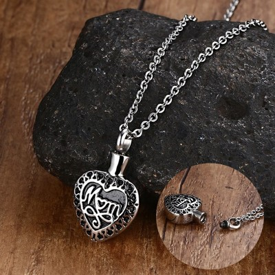 Women Necklaces Stainless Steel Cremation Urn Jewelry Dad Mom in Heart Silver Color Choker Necklace Keepsake Pendant for Men