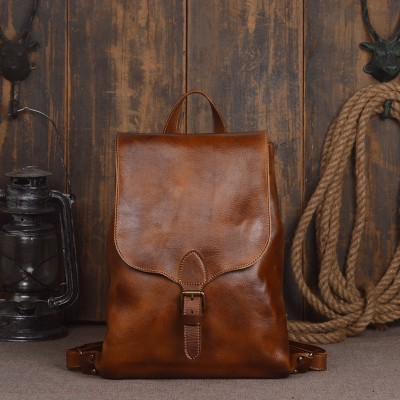 Vintage 2019 cow genuine leather backpacks for women 14 inches packs Exquisite Crafts Oil wax leather Male Laptop Backpack