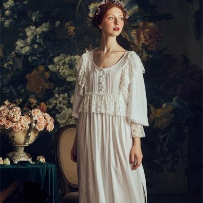 Lace Cotton Linen Nightgown Ladies Retro Sleepwear Dress Elegant Women Autumn 2019 Summer Homewear Long Nightdress