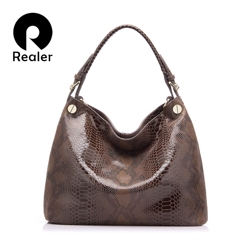 REALER brand genuine leather bag women fashion serpentine prints ... 2739f1d1aec19
