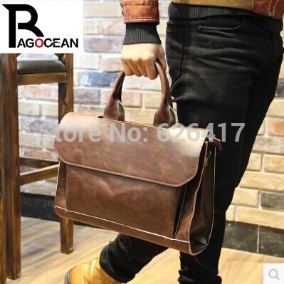 New pu leather vintage handbag men messenger bag Business briefcase for High Quality Computer Laptop Handbag Men's Travel Bag