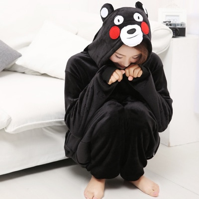 Cute Animal Kigurumi Kumamon Long Sleeve Hooded Onesie Adult Winter Warm Homewear Pajamas