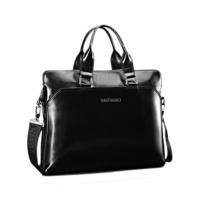 COUPON solid black brown Luxury Chic Men Leather Briefcase handbag messenger top handle shoulder Laptop computer business Bags