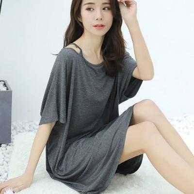 2019 summer new large size nightdress modal cotton long off-the-shoulder short-sleeved dress sleepdress nightgowns sleepshirts