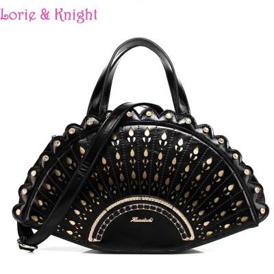 Women Creative Bag Cute Peakcock Tail Inspired Handbag Stylish Lolita Tote Bag/Shoulder Bag BLACK/RED