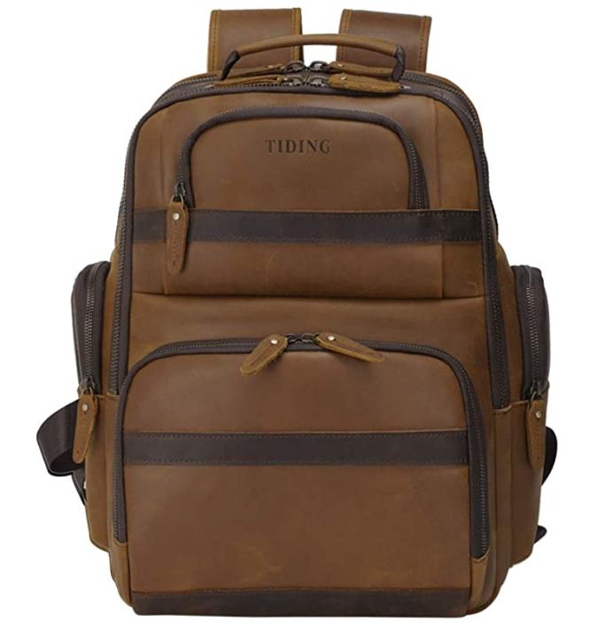 Original Brand Mens Leather Backpack Vintage 15.6 Inch Laptop Bag Large Capacity Business Travel Hiking Shoulder Daypacks with USB Charging Port & YKK Zipper
