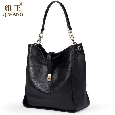 Qiwang Black SOFT Genuine Leather Women HOBO Bag Leather Gold Logo Shoulder Work Handbag C Women Bucket Bag Chain Purse Elegant