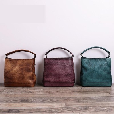 2019 Direct Selling Cotton Soft Women Handbag Handmade Vintage Real Cowhide Bucket Bag Messenger Genuine Leather Shoulder Totes