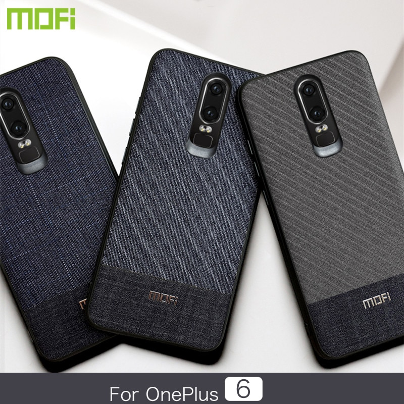 Mofi Oneplus 6 Phone Case & Back Cover Dark Color Gentleman Business Style Handcraft Fabric Cloth Cross Grain Oneplus 6 Back Cover