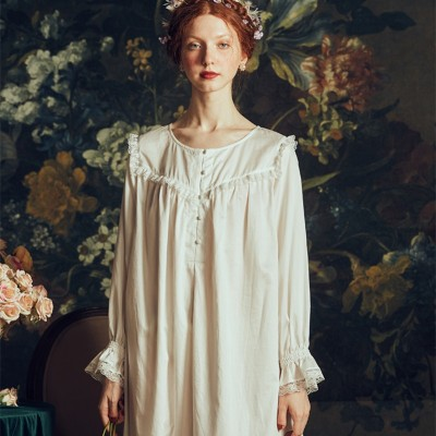 Women Nightgows Retro Elegant Sleepwear Dress Lady Nightgown Vintage Gentlewoman White Nightdress