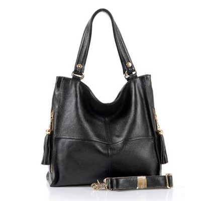 Hot selling genuine leather women's handbag Cowhide one shoulder bag women messenger bag black and brown