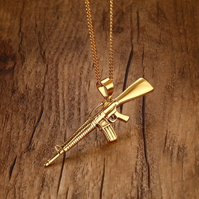 Men Necklaces Gold-color AK-47 Assault Gun Rifle Iced-Out Pendant Necklace Stainless Steel Hiphop Bike Military Fashion Jewelry