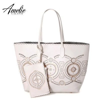 AMELIE GALANTI luxury shoulder bag for women fashion designer hollow out casual tote bags sequined open composite shopping bag