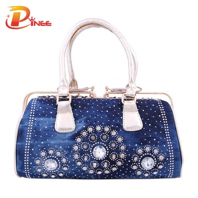 Rhinestone Handbags Designer Denim Handbags Women Purses New 2017 Fashion Famous Brand Women Messenger Bags Laides Handbags PU Leather