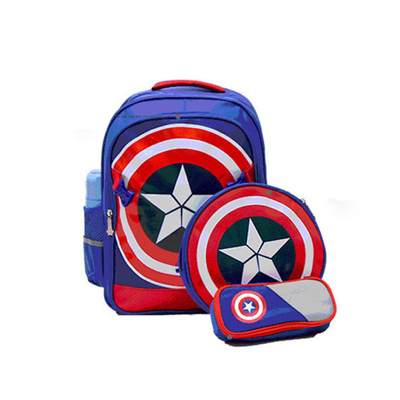 3pcs Captain America Children School Bags For Boy Travel Kid