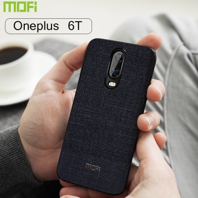6T Case Mofi Oneplus 6T Case Business Dark Color Handcraft Gentleman Fabric Cloth One Plus 6T Case Cover Capa Coque Funda Gray