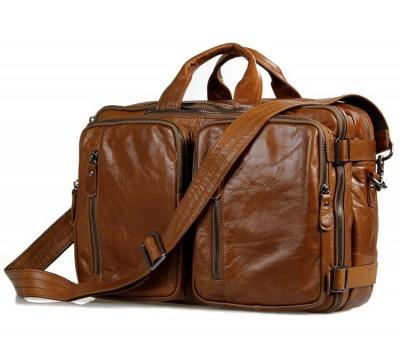 2017 Promotion Genuine Leather Men Bags Multifunctional Mens Briefcase Crossbody Shoulder Handbag Messenger Large Travel Pack