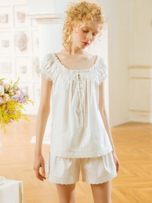 Summer Pajamas Woman Pure Cotton Sleepwear Suit Sweet Lovely Nightshirt Summer Short Sleeve Shorts Pajamas