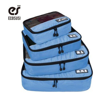 ECOSUSI Breathable Travel Bag 4 Set Packing Cubes Luggage Packing Organizers with Shoe Bag Fit 23 Carry on Suitcase