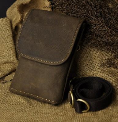 Top Quality Genuine Real Leather men vintage Brown Small Messenger Belt Bag Waist Pack Drop Bag 611-10