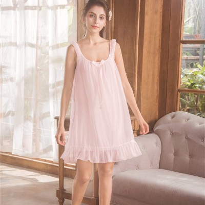 New Summer Nightgown Women Short Dress Lady Princess Nightdress Lovely Lace Sleepwear Sleeveless V collar H