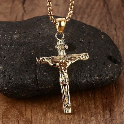 """Mprainbow Mens Necklaces Stainless Steel Christian Jesus Crucifix Cross Pendant Necklaces for Men Vintage Fashion Jewelry 24 """""""