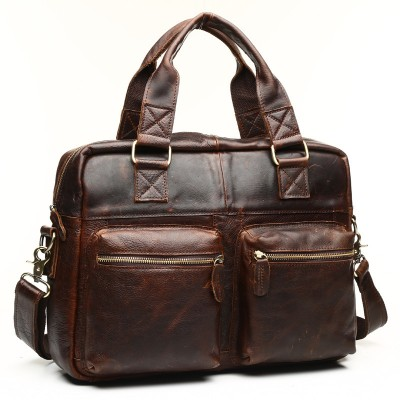 2019 New Vintage Real Genuine Leather Men Messenger Bags Cowhide Shoulder Handbag Business Man Bag Portfolios Laptop Briefcase