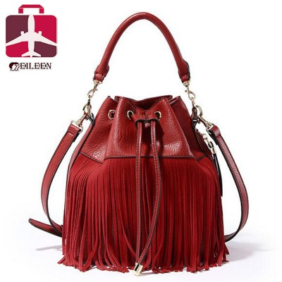 Small bucket women tote bag 2017 tassels genuine leather bag women messenger bags famous brand designer handbags high quality
