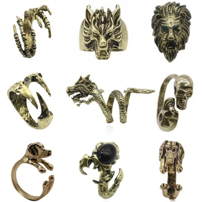 Gothic Punk Animal Ring Dog Dragon Wolf Bird Lion Head Skeleton Eagle Claw Rings For Men Women Biker Jewelry Gift Anel Masculino