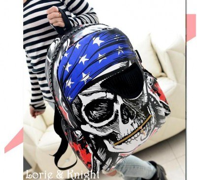 Gothic Pirate Skull Print Backpack Fashion School Bag for Boys and Girls