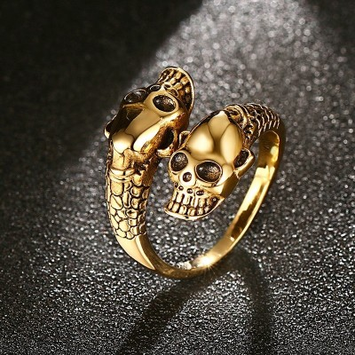 Mprainbow Men Skull Rings Stainless Steel Smiling Skeleton Shape Open Cuff Vintage Punk Style Gold / Silver-color Biker Jewelry