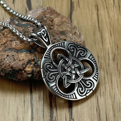 Mens Lrish Celtics Trinitys Knot Pendant Necklace for Men Stainless Steel Unisex Vintage Gotycki Male Jewelry