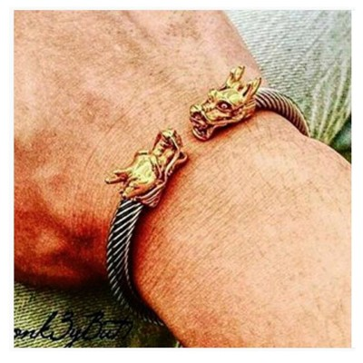 Dragon Accents Thick Cable Cuff Bracelets for Men Stainless Steel Elastic Adjustable Bangle Vintage Male Jewelry Brackelts