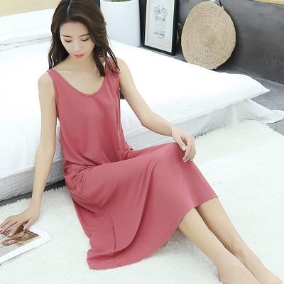 2019 summer new plus size ladies vest long dress women loose sleepwear sleepdress sleeveless nightdress for 100kg