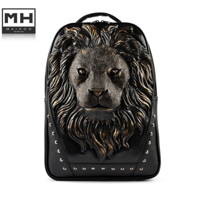 Women Backpack 2015 Newest Stylish Cool Black PU Leather lion Backpack Female Hot Sale Women Bag In Stock Fast Shipping