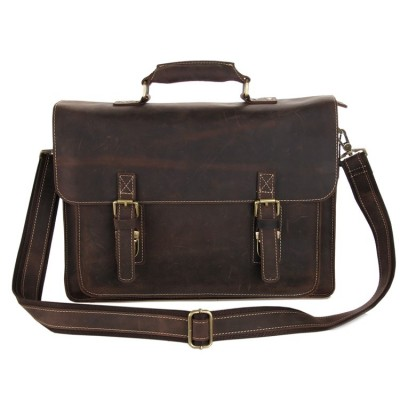 Vintage Brown Crazy Horse Leather Men Briefcase Genuine leather Men Messenger Bags Cowhide 14 Laptop Portfolio #MD-J7205