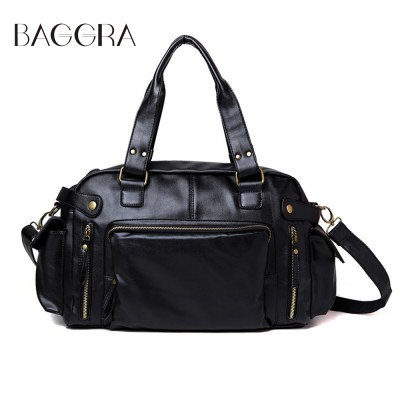 BAGGRA Mens Satchel Shoulder Bag Vintage Men Messenger Bags High Quality Pu Leather Hand Bags Large Capacity Travel Men Bag