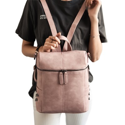 Simple Style Backpack Women PU leather School Bag For Teenage Girls Fashion Vintage Small White Rucksack Designer mochila XA568H
