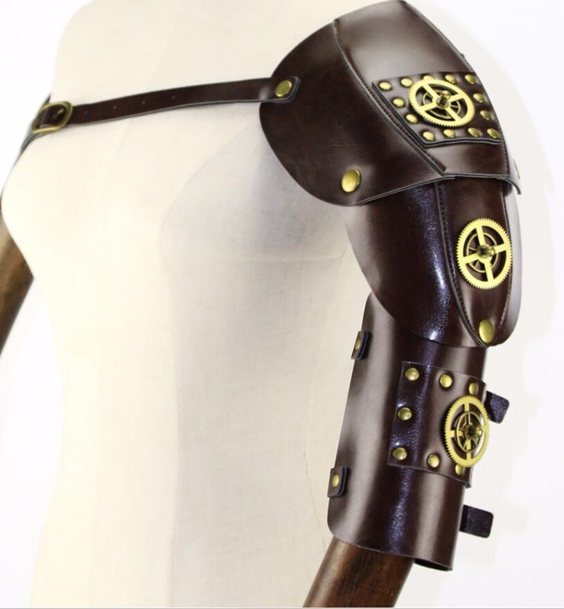 Brown PU Leather With Gold Gearwheel Vintage Steampunk Arm Armor Anime Cosplay Props Halloween Party Accessories
