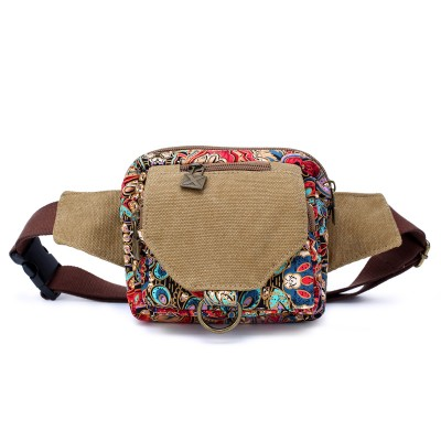 Printing Waist Bag for phone flower Leisure Waist Bag Women Chest Pack Inclined Outside Canvas Mobile Tide Single Shoulder Bag