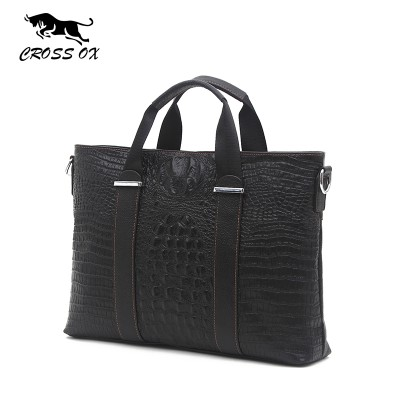 CROSS OX 2019 Spring Fashion Men's Crocodile Pattern Genuine Leather Handbags For Men 14 Laptop Bag Briefcase Portfolio HB542M