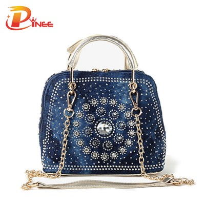2015 Woman Denim Handbags Bags Vintage Rhinestone Shoulder Bags Women's small Bags jean Bolsas Femininas for Women