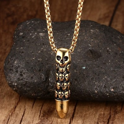 Mens Stainless Steel Skull Capsule Bullet Pendant Necklace for Men Punk Vintage Jewelry with 24 inch Chain Halloween Jewellery