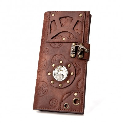 Men Women Brown Wallet Punk Gear Purses Vintage Steampunk Rivets Mens Wallet Card Holders Vintage Movement Table Purse