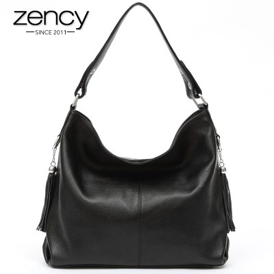 100% Two Tassels genuine cowhide leather handbag women's shoulder ladies messenger bag purse satchel
