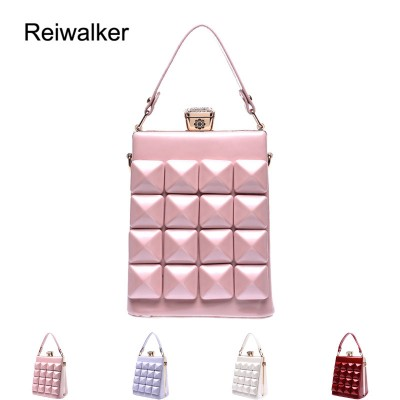 Reiwalker 2019 Candy Shell Bag Leather Plaid Handbag Women Messenger Bags Crossbody Bag
