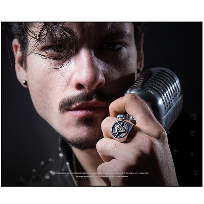 Mens Signet Rings 316L Stainless Steel Ring Vintage Freemason Masonic Ring for Men Jewelry anel masculino US Size 6-13